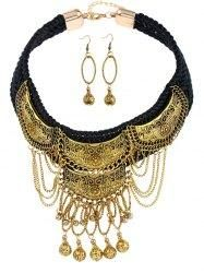 #Gamiss - #Gamiss Vintage Braid Fringed Ball Necklace and Earrings - AdoreWe.com