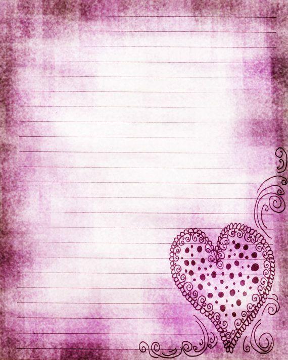 Druckbare Journalseite, rosa Herz gefüttert Briefpapier, 8 x 10 JPG Instant Download, Scrapbooking Papier, digitalen Kunst, Liniertes Papier