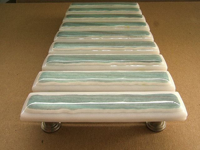 aqua seafoam fused glass drawer pulls