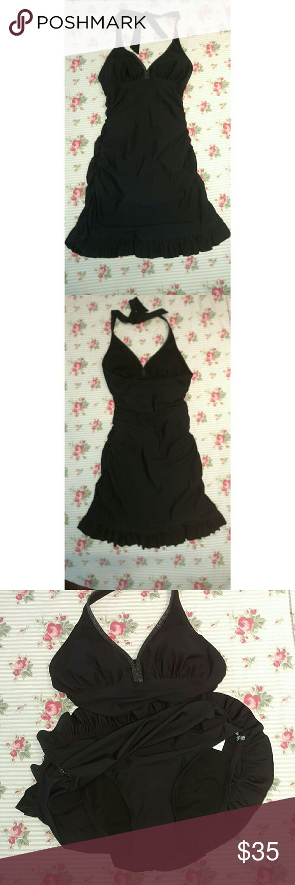 New Assets By Spanx Retro Halter Black Swim Dress New Assets By Spanx Retro Halter Black Swim Dress Sz S. New without tags. Super cute! ASSETS by Sara Blakely Swim One Pieces