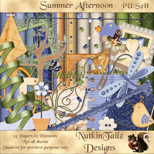 Just what you need for all those lazy summer afternoons, whether it be reading or just chillin with a cold drink. Summer Afternoon by NutkinTailz Designs is just that kit. Now available at http://digitaldesignden.com/xcart/product.php?productid=3421&cat=0&page=1