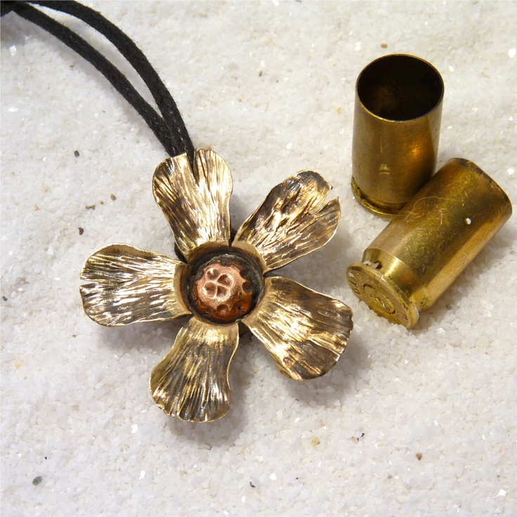 Something Beautiful from a casing ~ Bullet Flower Pendant, Brass Blossom, Bullet Shell Pendant.