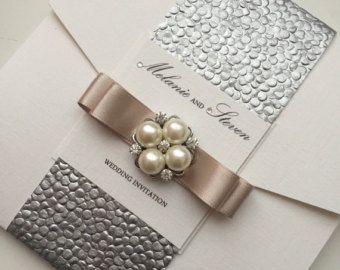 Colección armonía - suite muestra Pocketfold invitación de la boda, hecho a mano con la venda del vientre relieve y lazo de cinta de raso