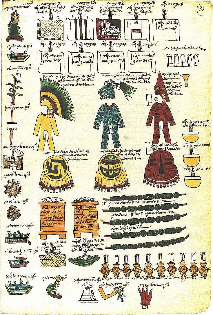 Aztecs used codex to show stories. This one discribes different aspects of the Aztec society.