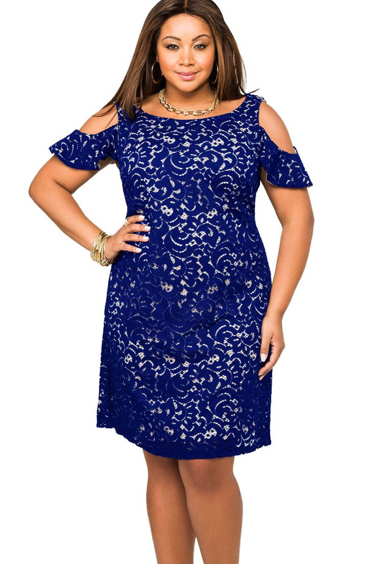 Navy Lace Overlay Cold Shoulder Plus Size Dress for Bridesmaids