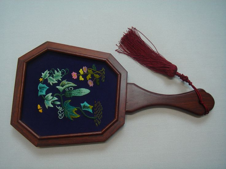 Hand-embroidered traditional Korean mirror.