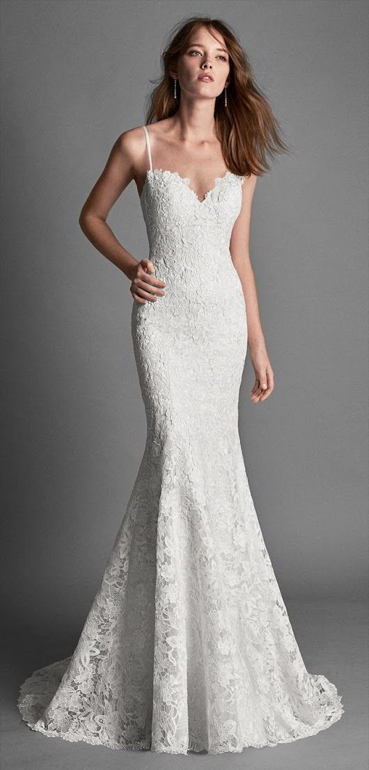 *Alma Novia 2018 Mermaid-style guipure lace wedding dress with low back. *http://goo.gl/QTjw9e - World of Bridal - Google+