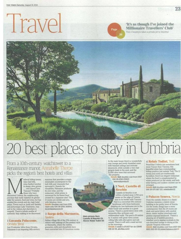 Palazzo Seneca is listed as '20 best places to stay in Umbria'