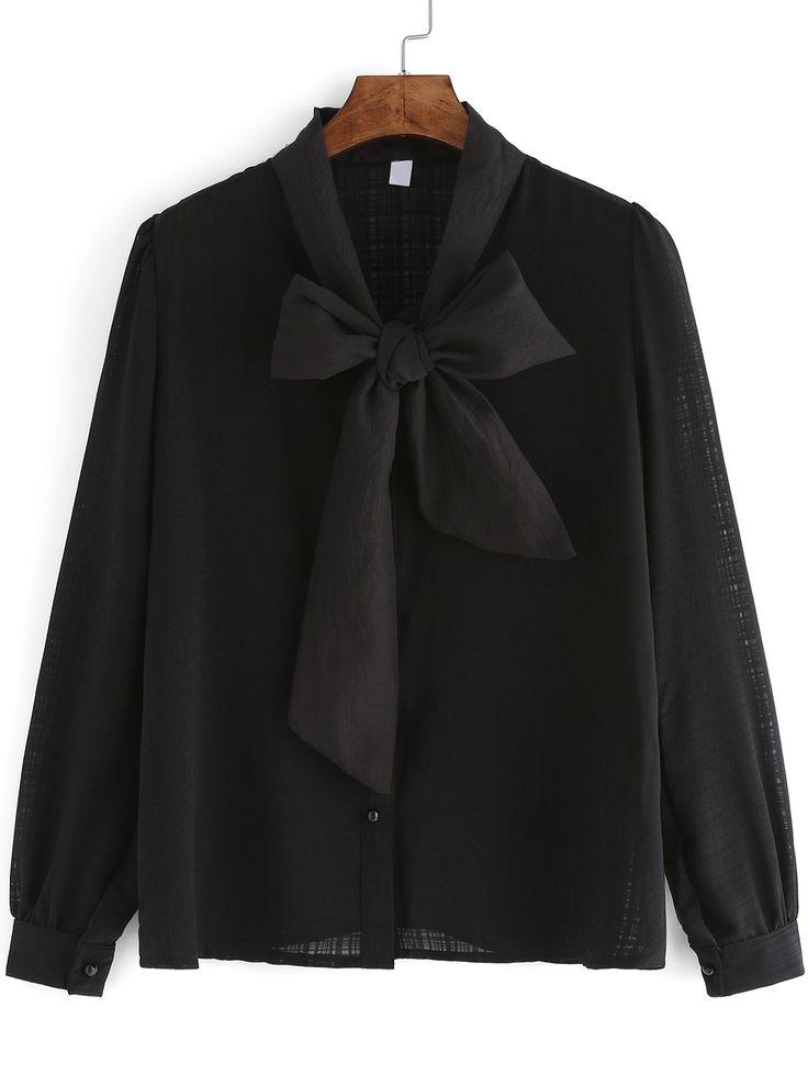 Negozio Camicia con maniche lunghe nero on-line. SheIn offre Camicia con maniche lunghe nero & di più per soddisfare le vostre esigenze di moda.