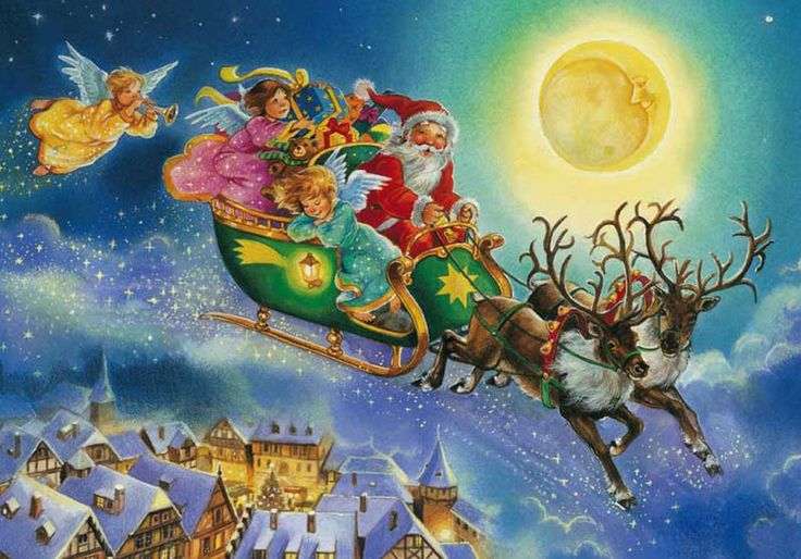 Magical Santa and his sleigh flying through the moonlit night sky followed by fairy angels and stardust!