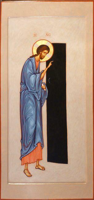 Christ the narrow gate icon, by Maxim Sheshukov