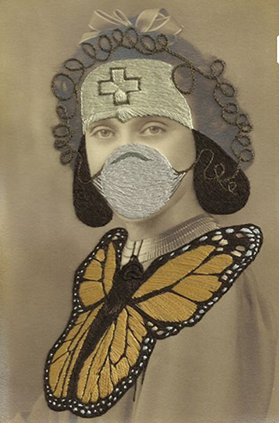 Portrait Photographs With Fanciful Embroidery by Stacey Page.