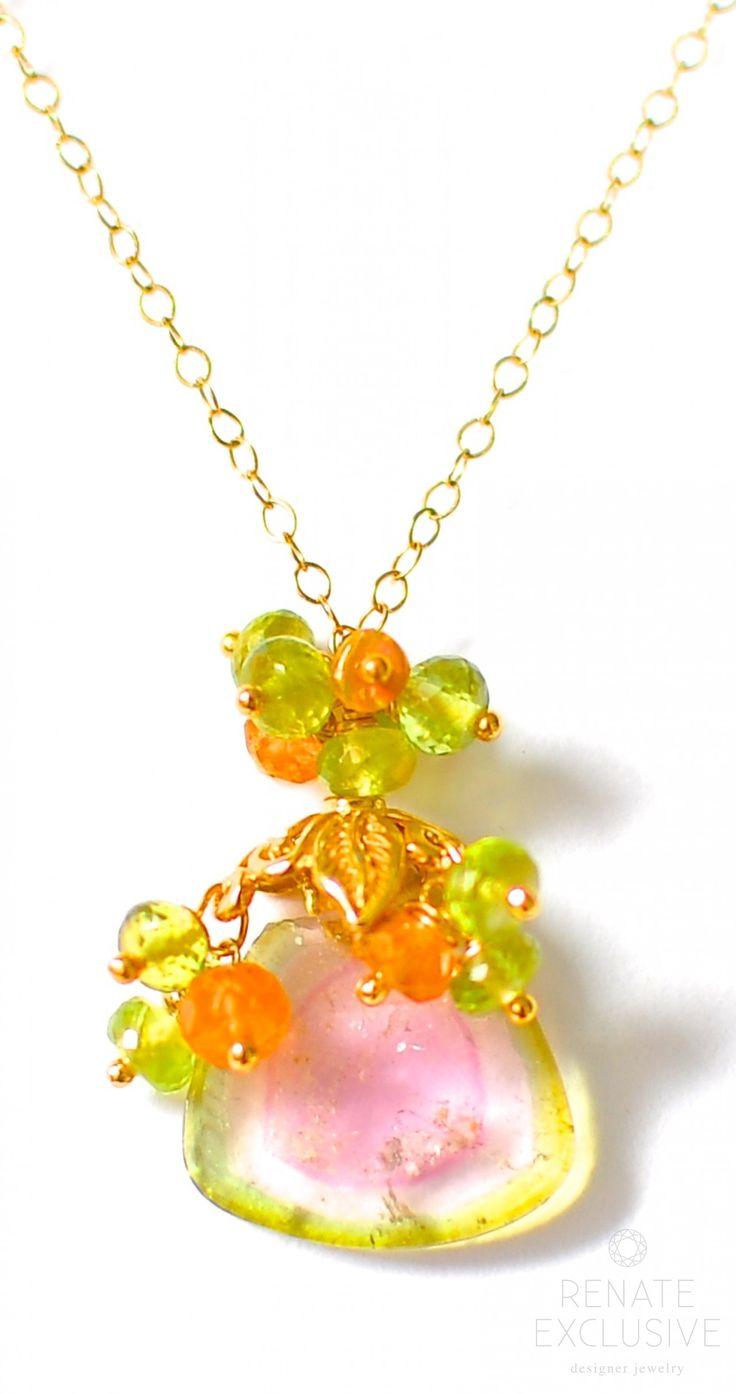 "Petite Watermelon Tourmaline Necklace with Peridot Green ""Summer Days III"""