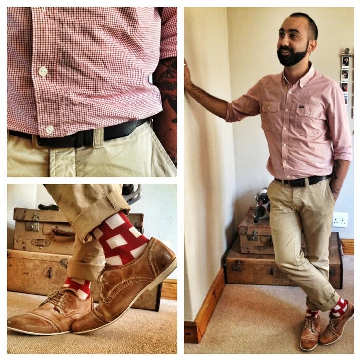 Mario Blocks NicSocks.  #RVCA red checked collared shirt.  #Countryroad Chinos.  Zoom brown shoes.  #Levi Belt.        #mensfashion #fashiontips #socks #nicsocks #mensshoes #mensfashiontips #marioblocks