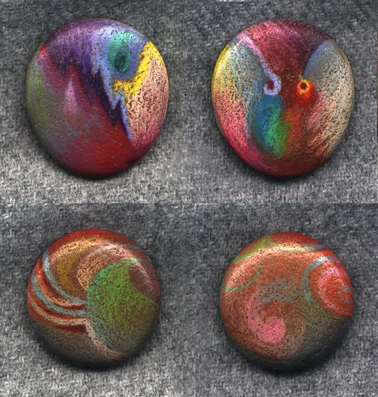 colored pencil on rocks!  (looks like dichroic glass!)  SBG thinks you can spray on waterproof sealer and spot them into strategic places in the garden or among potted succulents.