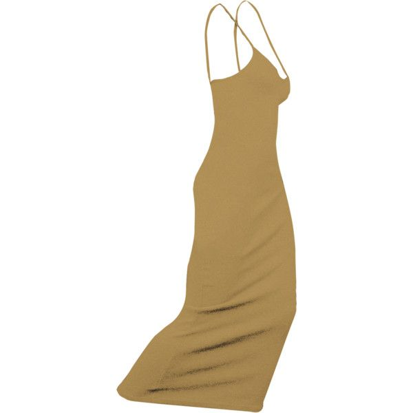 BARE TANK DRESS IN CAMEL (MAXI) ($58) ❤ liked on Polyvore featuring dresses, maxi dresses, brown maxi dress, deep v-neck dress, tanktop dress and deep v-neck maxi dresses