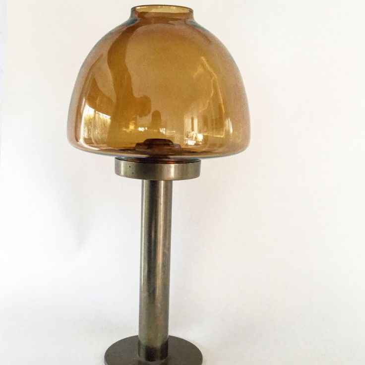 Swedish 1950's Hans-Agne Jacobsson     , amber coloured glass and brass