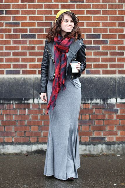 I could wear a maxi skirt every day for the rest of my life! Love this idea for winter. Cute with a scarf and beanie!