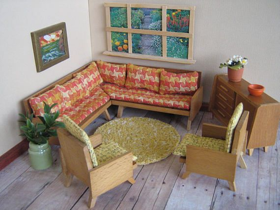 Captivating Vintage 50s German Mid Century MODERN Living Room Set Sectional Sofa, Two  Chairs And Console In Large 1:16 Scale