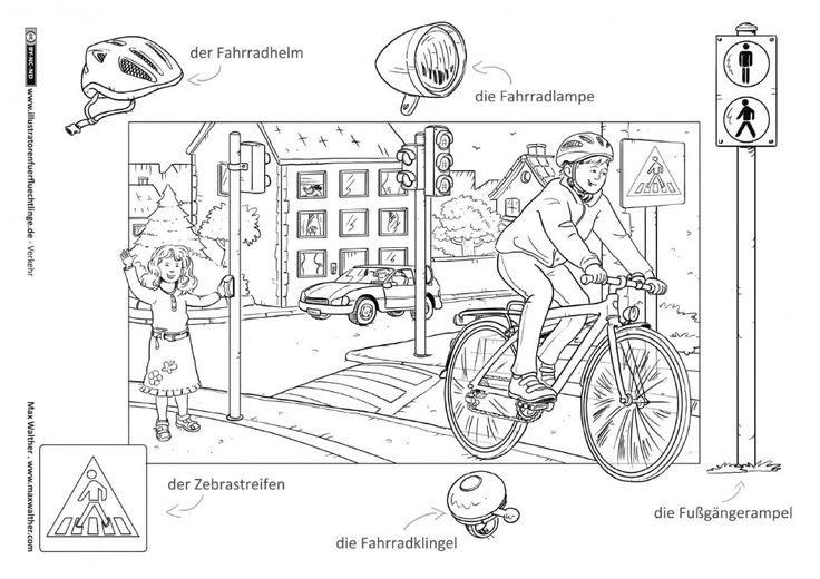Verkehr - Fahrrad Ampel Zebrastreifen - Walther