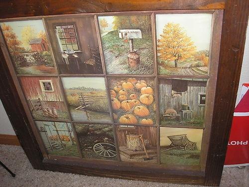 Vintage Home Interior Window Pane Harvest Farm Picture