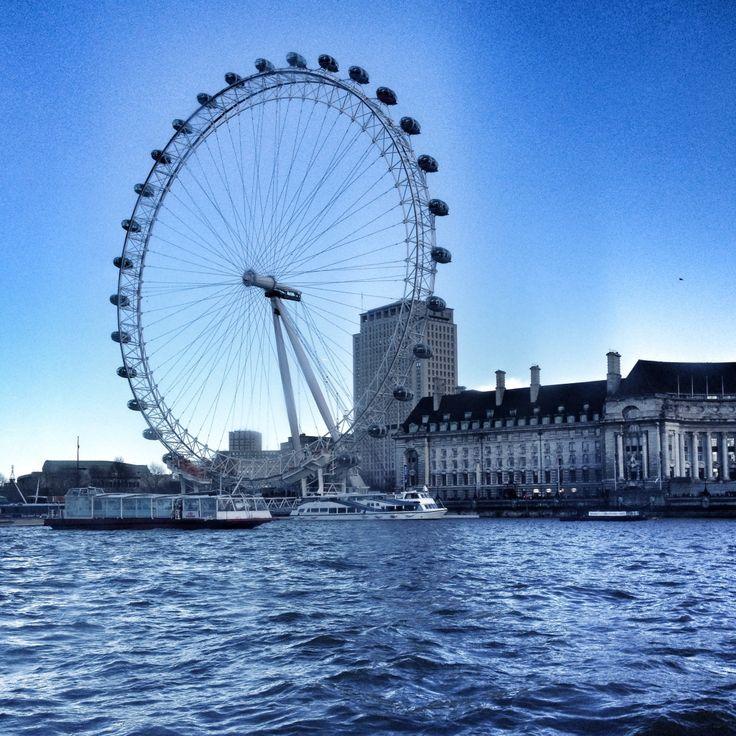 Westminster pier. London Eye is on me. February '14