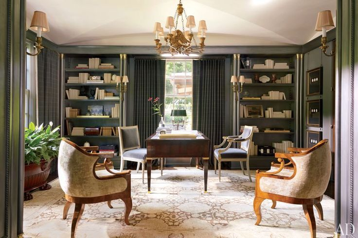 Nuanced Grey Green In This Delicate French Style Library