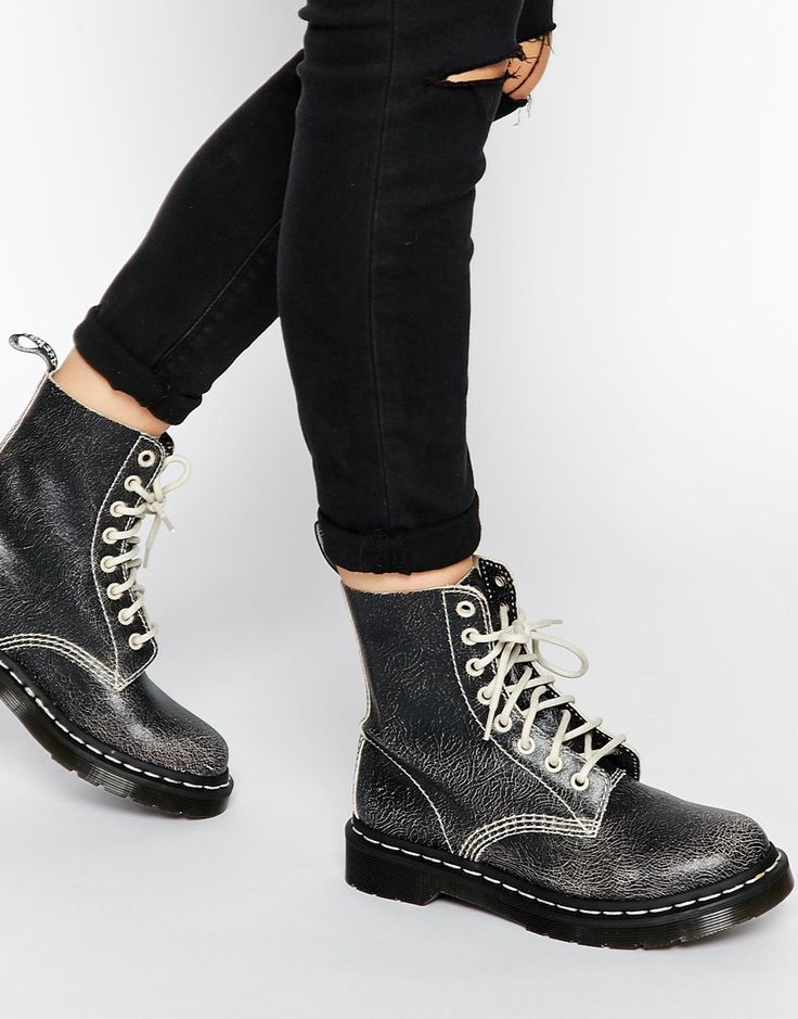 Image 1 ofDr Martens Core Pascal Black/White 8 Eye Ankle Boots