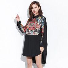 [Soonyour] 2017 Весенняя Мода Новые Плюс размер Абстрактный Узор Нерегулярные Подол Долго Стиль Dress Девушку Большой размер YD78900(China (Mainland))