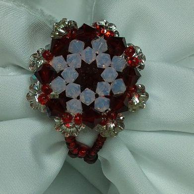 Red vine swari flower ring, Vorosbor színű swari virág gyűrű