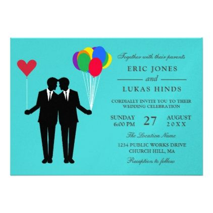 Gay Grooms Balloons Card - invitations personalize custom special event invitation idea style party card cards