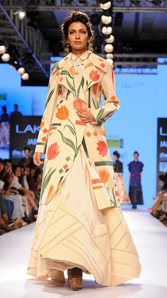 Don't ditch the florals in winter, sport them for a casual chic look like this trench coat from Sahil Kochhar at Lakme Fashion Week'15.