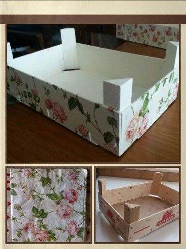 Wood box decorated with napkin. Caja de madera decorada con servilletas.