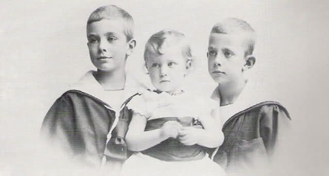 Prince Gustav Adolf, Prince Erik and Prince Wilhelm of Sweden, the three sons of King Gustav V. and Queen Victoria of Sweden