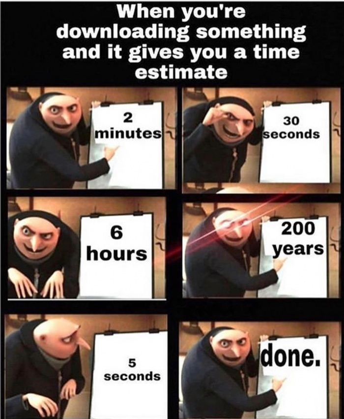 When You Re Downloading Something And It Gives You A Time Estimate Lol Pics In 2021 Really Funny Memes Really Funny Funny Relatable Memes