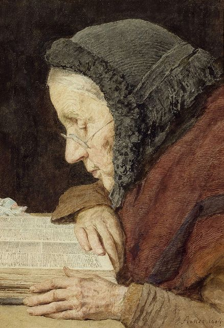 Albert Anker Elderly Woman Reading the Bible 1904 by Plum leaves, via Flickr