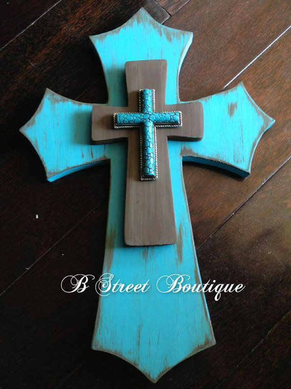 Turquoise Wall Cross by bstreetboutique on Etsy, $27.50