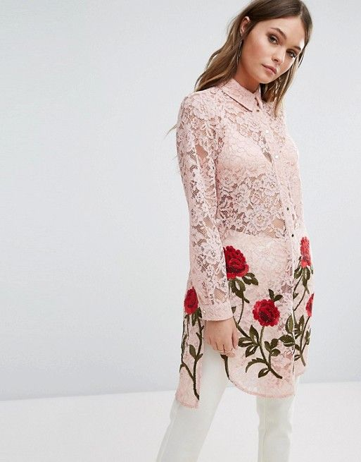 River Island Rose Embroidered Longline Lace Shirt