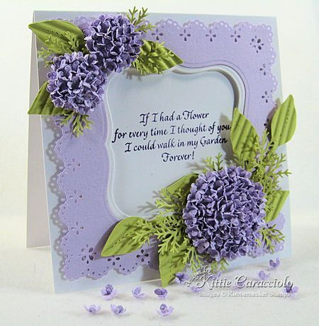 I have made a card similar to this and it is really finicky.  But the texture of it is beautiful! This uses the #hydrangea stamp from Martha Stewart