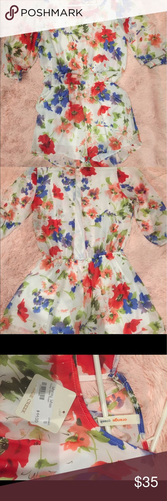 NWT Floral romper! Brand new floral romper with tags. Perfect for summer with a cute open back design! Size S. Material is lightweight, 100% polyester. Dresses