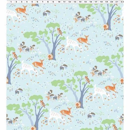 Y2065-100 Woodland Gathering Animals on Blue