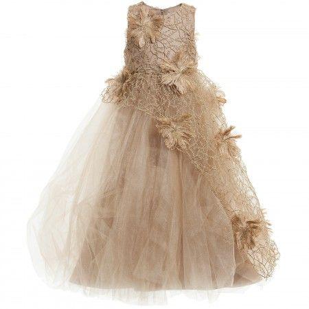Mischka Aoki - Gold 'Like A Princess' Floral & Tulle Dress | CHILDRENSALON