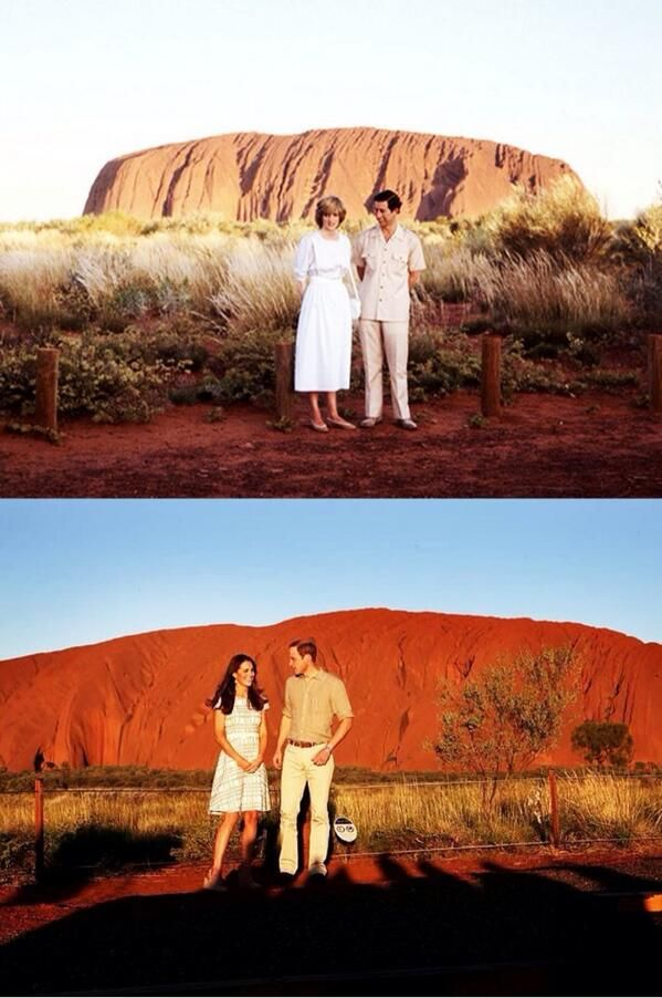 Prince William and Kate Middleton recreate Princess Diana and Prince Charles's Ayer's Rock moment. Uluru - 1983, 2014