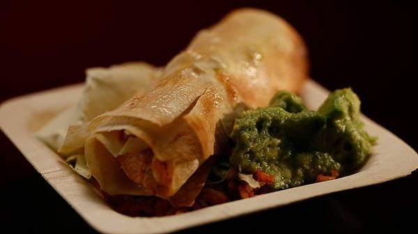 Healthy kids food - Chicken and Cheese Taquitos with Mexican Rice and Guacamole