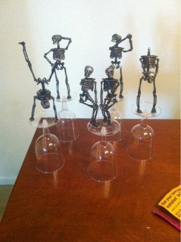 Step by step directions on how to make Dollar Store skeleton costume contest trophies www.thebrighterwriter.blogspot.com