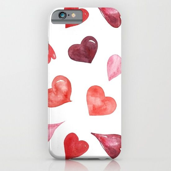 watercolor love pattern with hearts iPhone & iPod Case