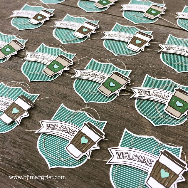 Bij Margriet; Stampin' Up!, SU, Badges & Banners, Coffee Cafe, tags