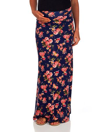 Another great find on #zulily! Navy Blue Floral Maternity Maxi Skirt - Women by PinkBlush Maternity #zulilyfinds