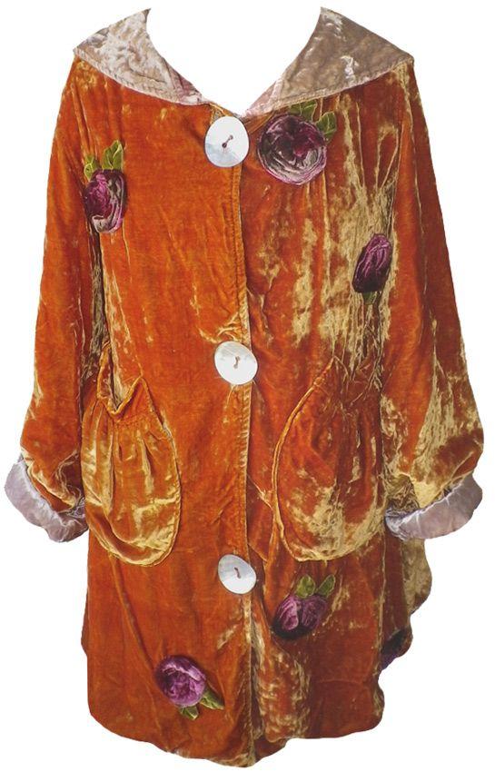 Magnolia Pearl: Silk velvet Roses Coat