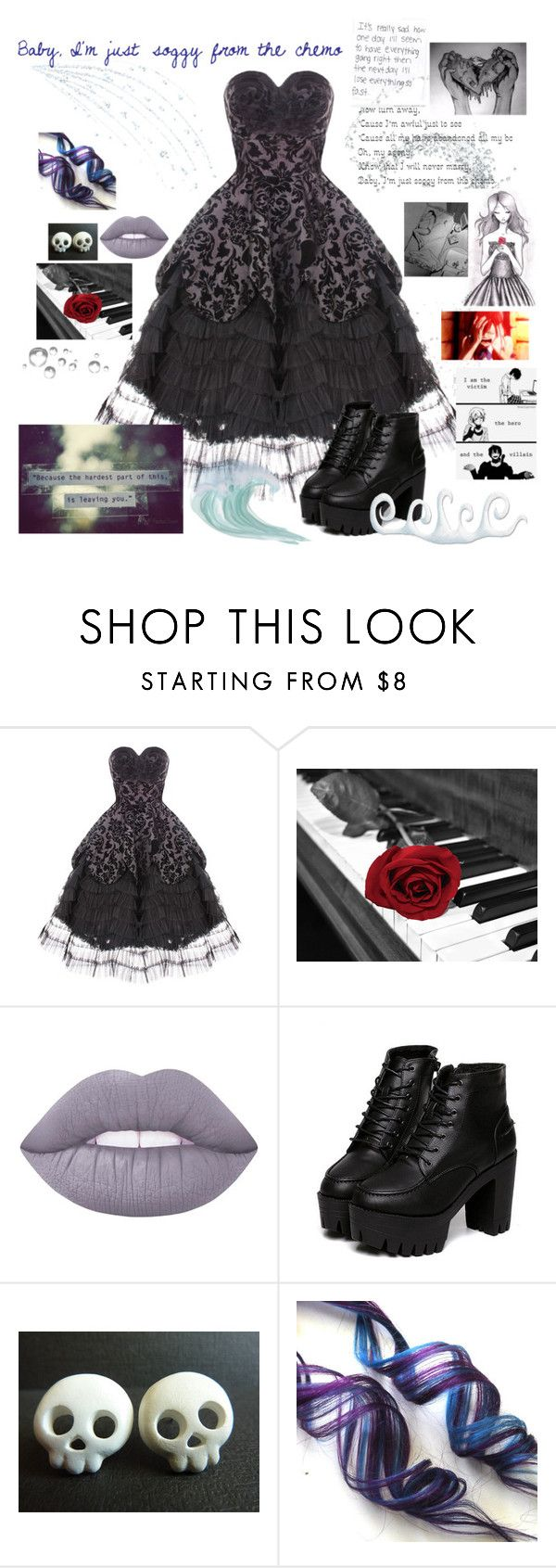 """""""Cancer ~ My Chemical Romance"""" by realbandssavefans96 ❤ liked on Polyvore featuring Hell Bunny and Lime Crime"""